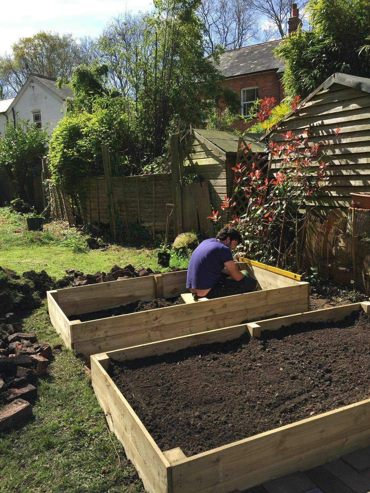 April 2017: Clearing the garden and building the raised beds and ...
